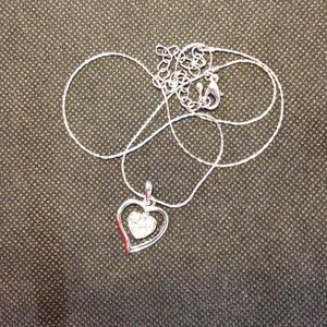 Jewelry - Double Heart Necklace Silver Tone Thin Chain
